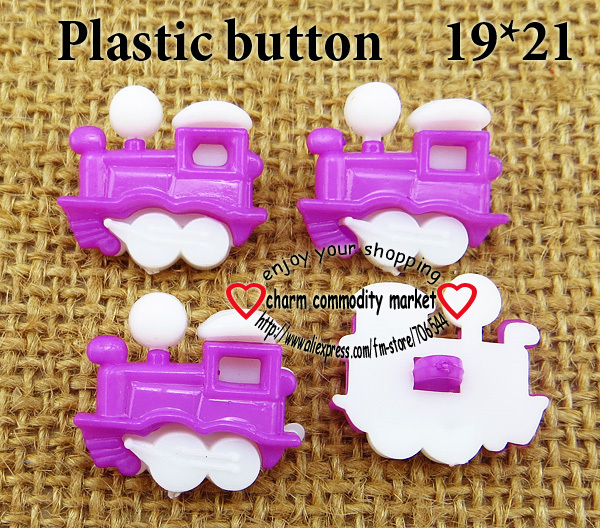 50PCS White Bottom purple Dyed Plastic Train buttons coat boots sewing clothes accessories P-118-12