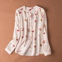 Cherry buckle fruit leaf printed silk long sleeved blouse female spring 2019 new fashion elegant 100 silk silk wild top i47