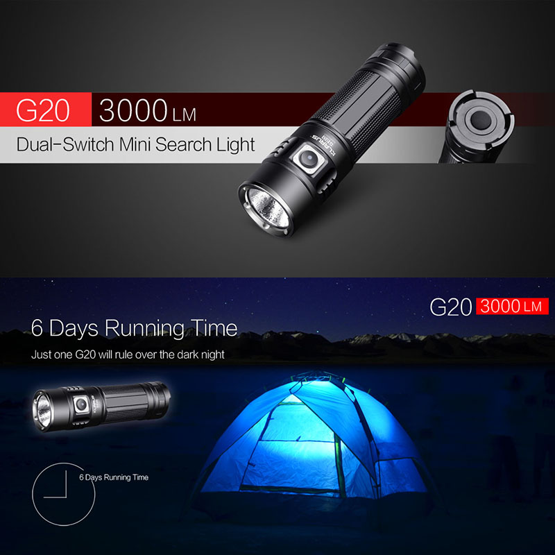 1set KLARUS G20  CREE XHP70 N4 LED Light Tactical Flashlight USB Rechargeable Torch 3000 Lumens Dual Switch With 26650 Battery new klarus xt11gt cree xhp35 hi d4 led 2000 lm 4 mode tactical led flashlight free usb port and 18650 battey for self defence