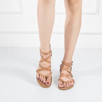 Sandals Comfort Summer Flat Roman Sandals Fashion High Quality Cross Strap Flat Sandals Gladiator Sandalias Mujer римские сандали