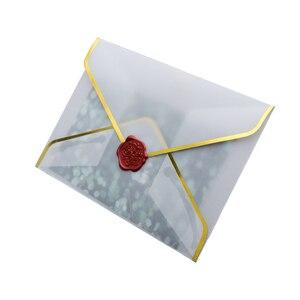 Image 5 - 20 ชิ้น/เซ็ตHot Stampingการพิมพ์กระดาษโปร่งใสกรดซัลฟูริกกระดาษงานแต่งงานจดหมายเชิญครบรอบ