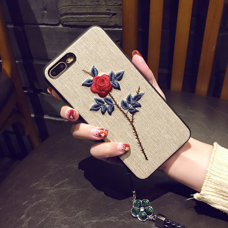 Fashion Embroidery Phone Case For iPhone 7 8 6 6S Plus Vintage Cloth Texture Rose Flower Soft Silicone Cover For iPhone X XS