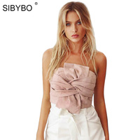 Sibybo Suede Crop Tops Women 2017 Spring Summer Off Shoulder Zipper Camisole Sleeveless Sexy Evening Party
