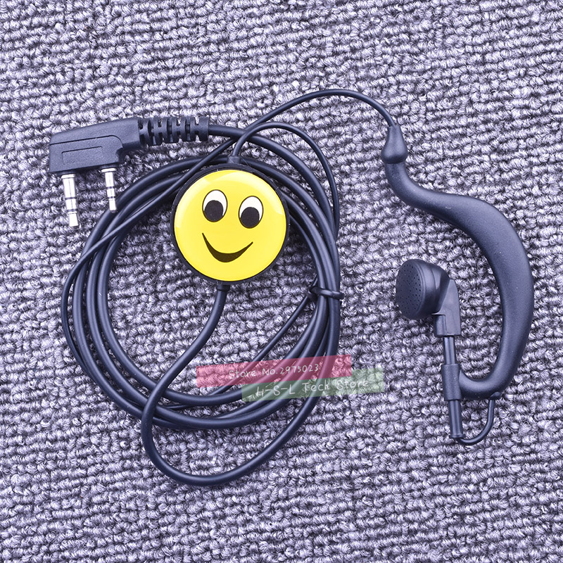 Smiling Face PTT Microphone For Walkie Talkie Mic Headset Universal 2 Pin Black Earhook Speaker Earphone Cable Clip Earbuds Mic