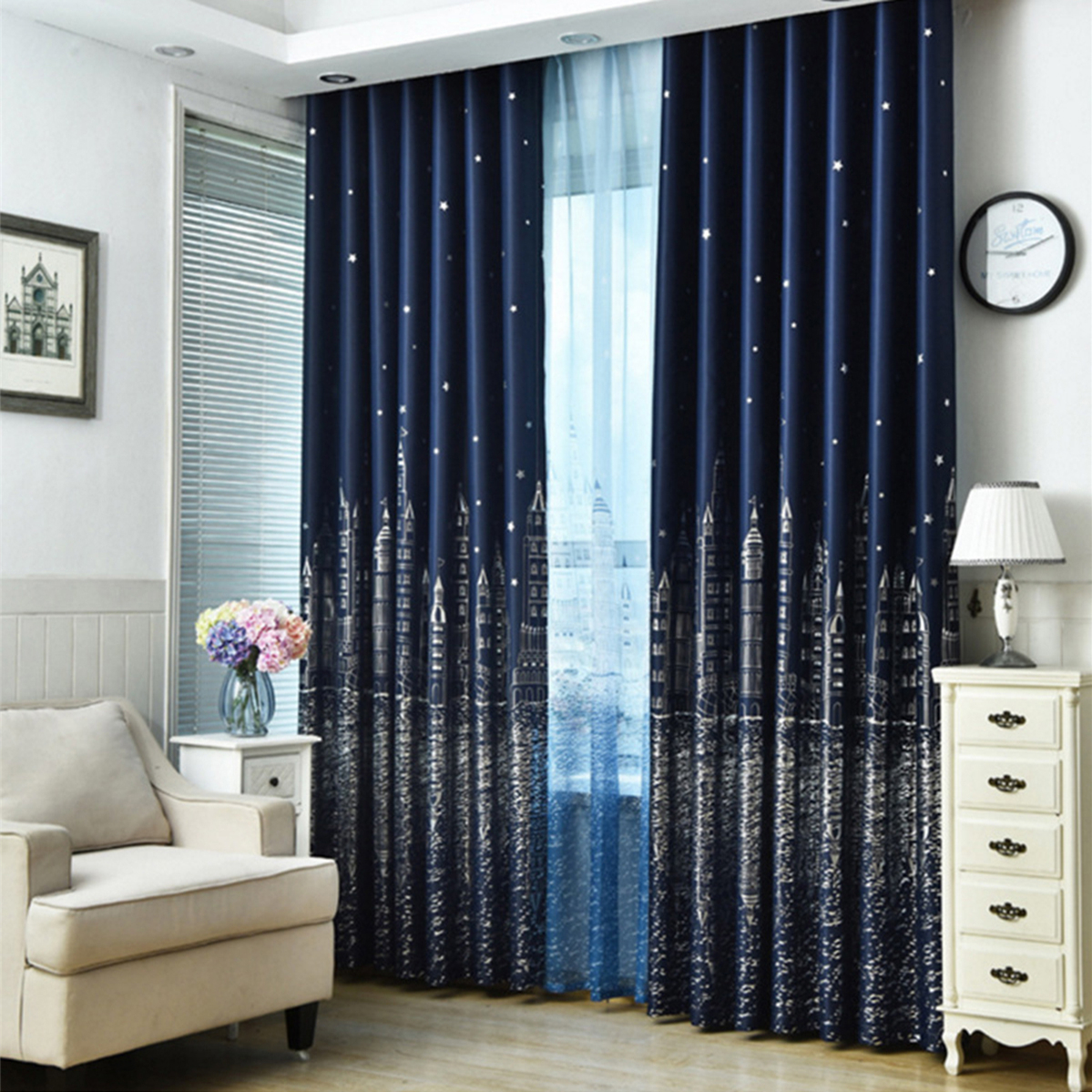 Modern Blackout Curtains for Living Room Bedroom Curtains for Window Treatment Drapes Solid Finished Blackout Curtains 100X250CM in Curtains from Home Garden