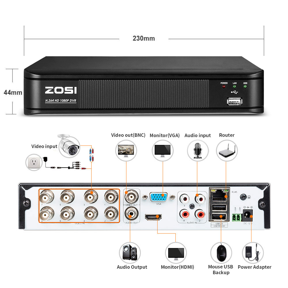 Image 5 - ZOSI 1080P 8 Channel TVI DVR 8CH AHD/CVI/TVI/Analog DVR 1920*1080 2MP CCTV Video Recorder Hybrid DVR 4 In 1 Security System-in Surveillance Video Recorder from Security & Protection