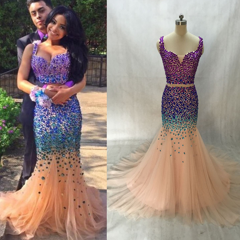 2016 New Sexy 2 Piece Mermaid Fishtail Prom Dresses Champagne Tulle