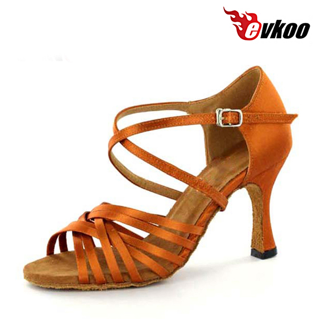 Evkoodance Brand Tan 7cm Heel Height Latin Dance Shoes For Ladies  Comfortable Sole Satin Latin Salsa 0d4915b287e0