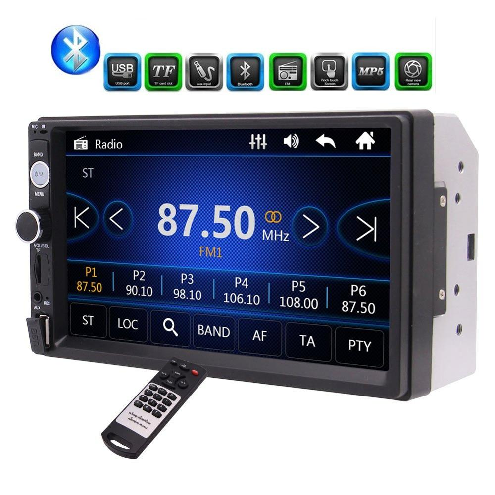 7HD Bluetooth Car MP5 Player FM Radio Car Video USB TF Aux input Colorful Buttons Car Stereo Music Entertainment System Remote