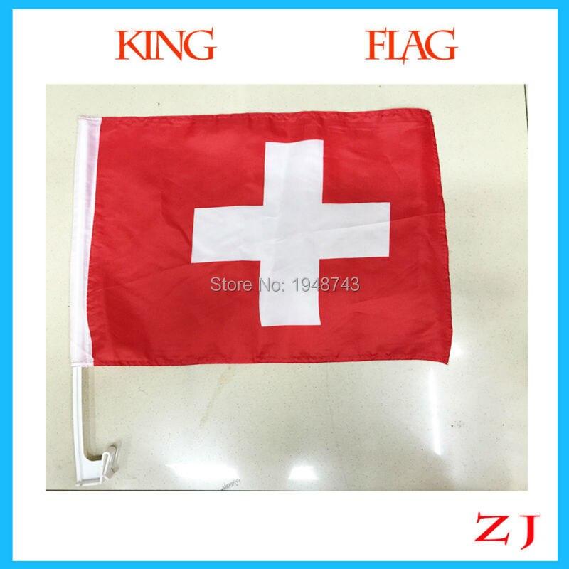 World Cup Hot sell 30*45cm Swiss car flag car banner Switzerland car flag window banner window flag 2 pcs/lot