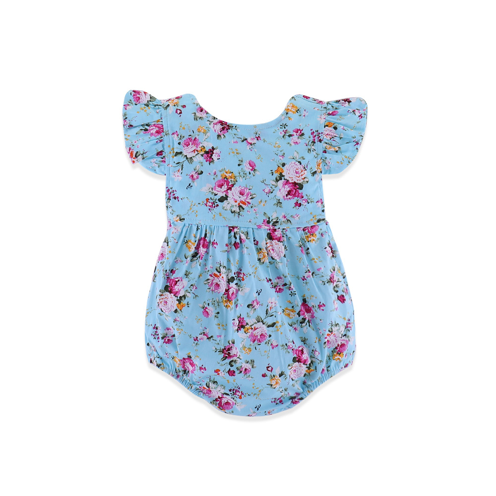 Blue Backless Newborn Baby Onesie Floral Bodysuits for Toddlers Girls Flying Sleeveless Jumpsuits Cotton Summer Children Clothes