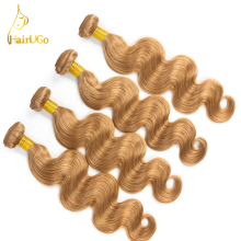 HairUGo Hair Pre-colored Peruvian Hair #27 Color 8-26Inch 100% Human Hair  Non Remy 4 Bundles Body Wave Hair Extensions