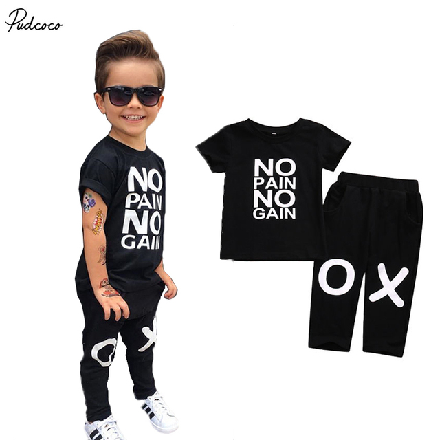 Cool Baby Boy Kids Clothes No Pain No Gain Print Tops T Shirt Short