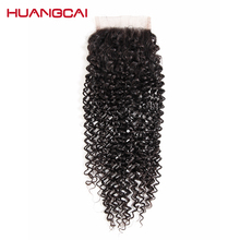 Huangcai Hair Product Curly Human Hair weaves Lace Closure Free Part 4×4 Non Remy Natural Black Color 130% density 8-18Inch