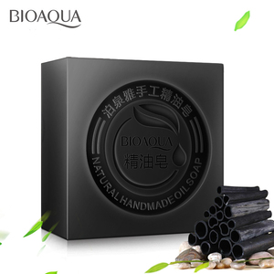 BIOAQUA Black Bamboo Charcoal Essential Oil Handmade Soap Acne Whitening Soap Deep Cleansing Oil-control Face Wash Hair Care(China)