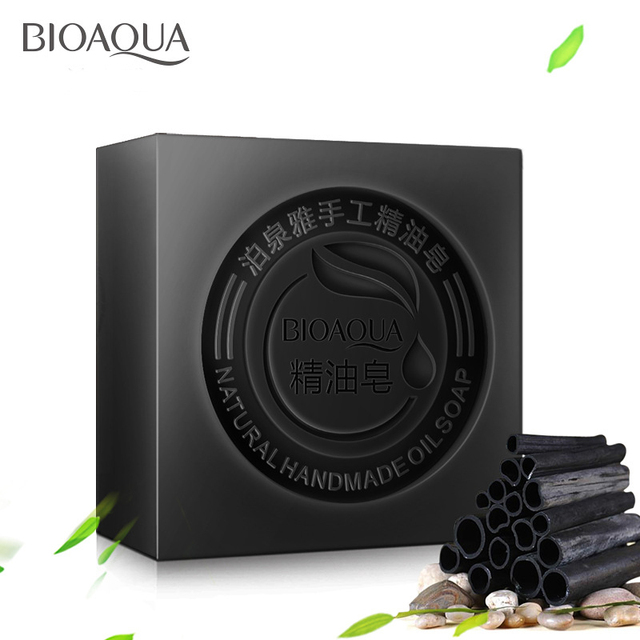 BIOAQUA Black Bamboo Charcoal Essential Oil Handmade Soap Acne Whitening Soap Deep Cleansing Oil-control Face Wash Hair Care
