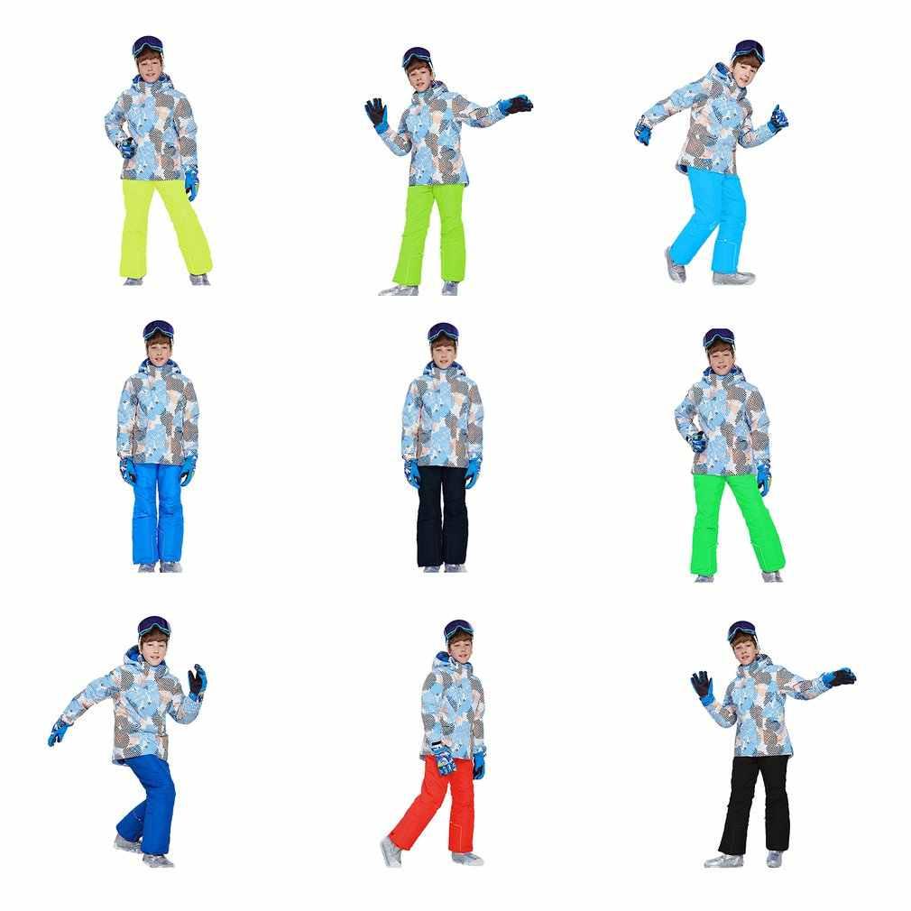 Детская зимняя парка для катания на лыжах, куртка, нагрудник снег, зимний комплект, теплый зимний комбинезон, лыжная куртка с капюшоном + штаны, комплект из 2 предметов