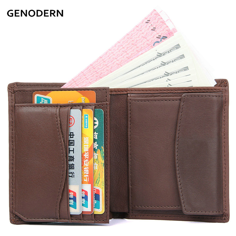GENODERN Cow Leather Wallet for Men with Coin Purse Cowhide Male Wallet Vertical Male Purse Carteira Masculina Men Wallets