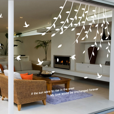 2015 new arrival tree bird sticker plant design home decoration wall stickers glass stickers switch grass swallow wall decals in wall stickers from home