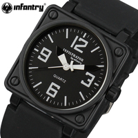 INFANTRY Men Watches Military Square Face Analog Sports Wristwatches Quartz Watches Black Rubber Strap Water Resistant