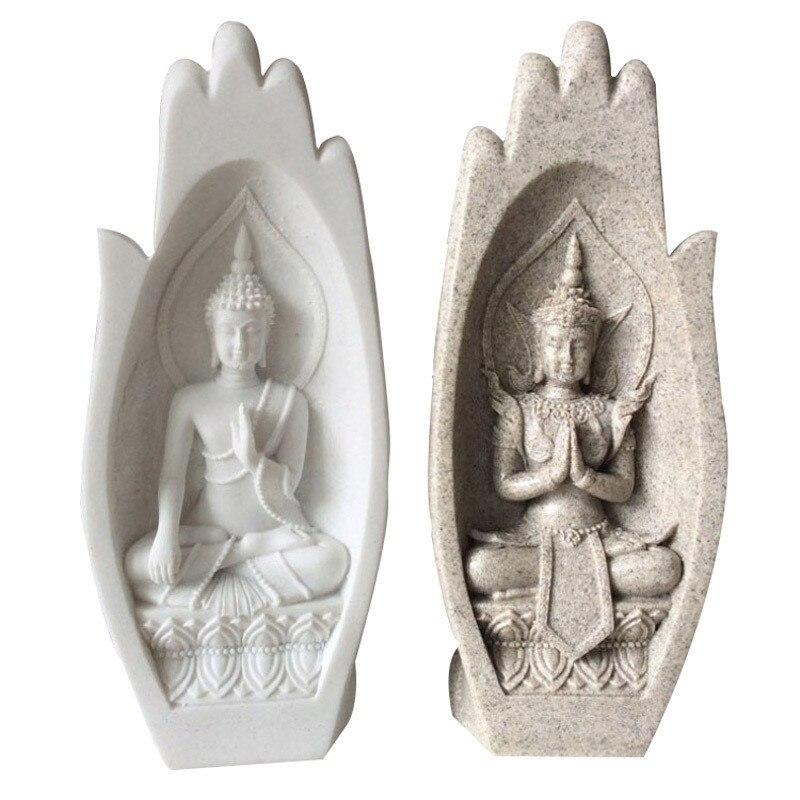 2 pièces petite Statue de bouddha moine Figurine Tathagata inde Yoga Mandala mains Sculptures décoration de la maison accessoires ornements R17