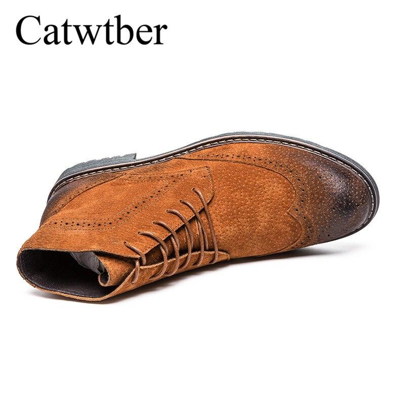Vollnarbenleder Großhandel Kurze Brogue Schuhe Winter Booties Hohe Catwtber Retro Schwarz Qualität Schuhe Stiefel Herren Männer Spitzschuh Designer qSzMLGUVp