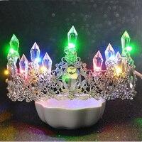 Romantic Women Blue Light Tiara King Crown Rhinestone Crystal Luminous Tiaras Wedding Party Bridal Hair Accessories