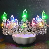 Romantic Women Blue Light Tiara King Crown Rhinestone Crystal Luminous Tiaras Wedding Party Bridal Hair Accessories