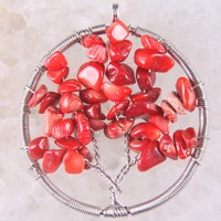 Free Shipping Fashion Jewelry Tree of life-Natural Red Sea Coral Beads Wire Wrap Round Pendant 1Pcs RK1433