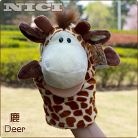 Candice guo! Free shipping hot sale super nice plush toy Nici forest animal classic style deer hand puppet kits love most 1pc