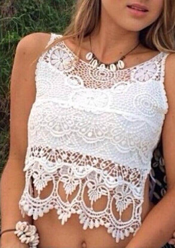 Blusas femeninas 2015 Verao encaje camisa corta recortada ganchillo ...