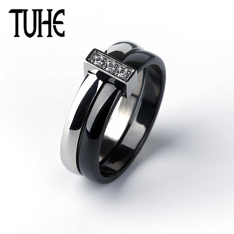 Classic Black White Color Double Circle Ring Ceramic & Silver Stainless Steel Rings For Women Lady Fashion Crystal Jewelry Gifts