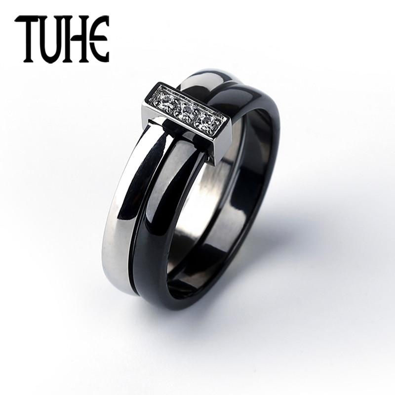473786ab61e9 Anillo clásico negro blanco doble círculo de cerámica y anillos de acero  inoxidable de plata para mujer señora moda joyería de cristal regalos
