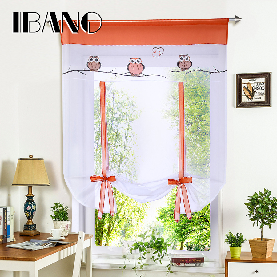 Roman Curtain Cute Owl Printing Sheer Window Tulle Curtains For Kitchen Living Room Voile Screening Drape Panel with Belt