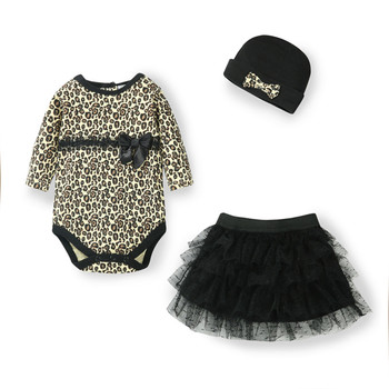 Одежда для новорожденных девочек Леопардовый Костюм из 3 предметов: комбинезон + юбка-пачка, платье + повязка на голову (шапка), модные компле... >> Ba Li E-Commerce Co., Ltd Store