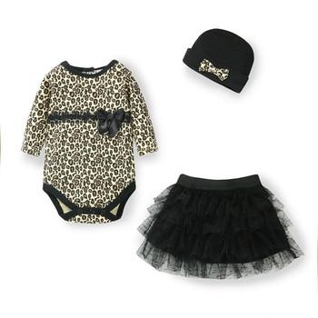 New Born Baby Girl Clothes leopard 3pcs Suit Rompers Tutu Skirt Dress Headband hat Fashion Kids