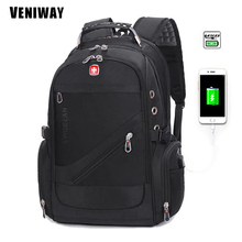 VENIWAY Waterproof Men's Backpack Swiss Cross Gear Military Backpacks 15 inch Laptop Bag USB Charge Nylon Rucksack Sac A Dos
