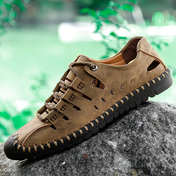 Mens Breathable Hiking Boots Summer Outdoor Hollow Genuine Leather Hiking Climbing Trekking Mountain Sneakers for Men Zapatos leather