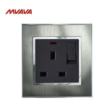 MVAVA 13A UK Standard Wall Switched Socket With LED Indicator Light Decorative Plug with switch Luxury Satin Metal Silver