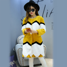 Nerazzurri Long Multi Colored Fur Coats O-Neck Women's Elegant Casual Fashion Striped Luxury Faux Rex Rabbit Fur Winter Coat