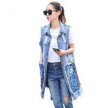 2018 New Fashion Summer Autumn Women Sequined Long Sleeveless Denim Vest Women Hole Denim Vests Jeans Jacket Plus Size S-3XL(China)