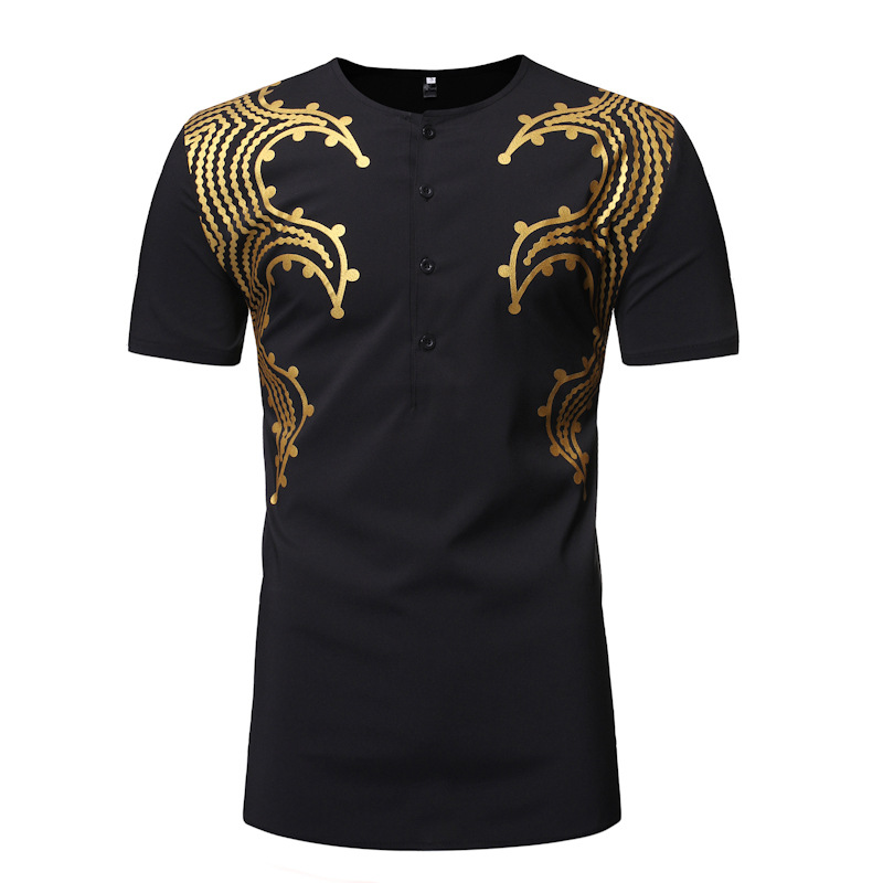 Black African Totem Bronzing Short Sleeve T Shirt Men 2019 Fashion African Dashiki Dress Shirt Men Streetwear African Clothes