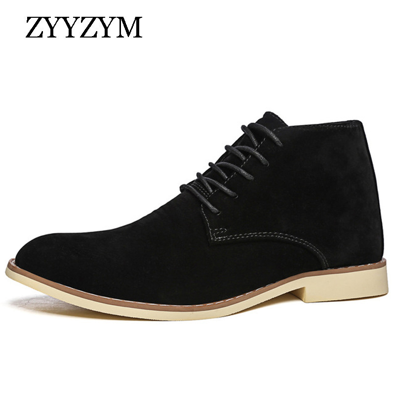 ZYYZYM Men Ankle Boots Autumn Casual Lace Up Men Shoes Booties Oxfords Fashion Flock Chelsea Boots Men High-Top Shoes
