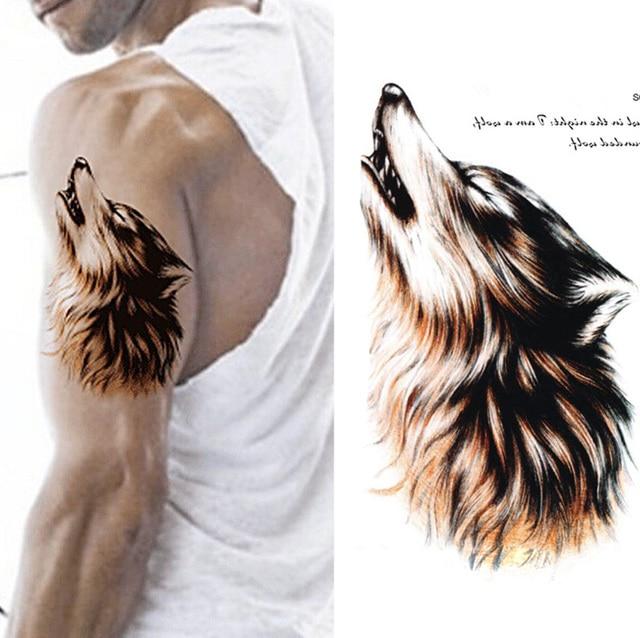 3d Bosquejo Marron Aullido Del Lobo Grande Falso Grande Tatoo Hombro