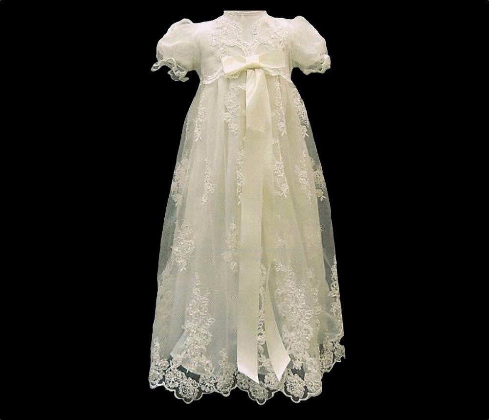 Haute qualité bébé filles robe de baptême robe de baptême dentelle Applique bébé robe d'anniversaire blanc ivoire 0 3 6 9 12 15 18 24 mois