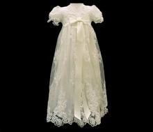 Высокое качество пользовательские девочка крещение платье цвета слоновой кости крещение платье аппликация ну вечеринку платье 0 3 6 9 12 15 18 24 мес.