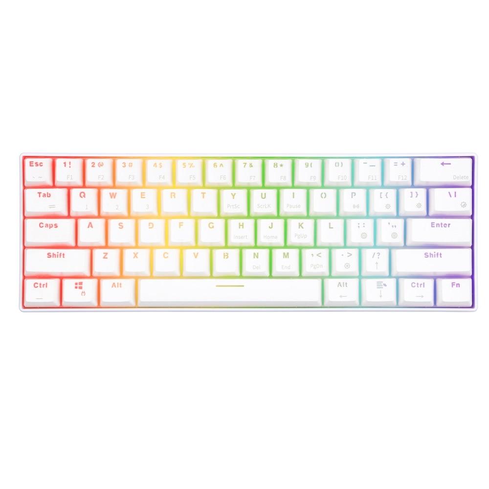 RK RK61 Mechanical Gaming White Keyboard Wireless Bluetooth 60 Keyboards 61 Keys RGB Backlit Backlight Blue