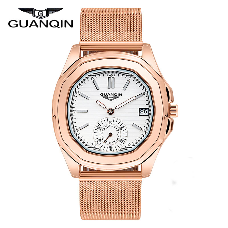 ФОТО GUANQIN brand Women dress wristwatch Ladies Steel Strap Rose Gold Quartz Watch Luminous pointer female casual clock hours red