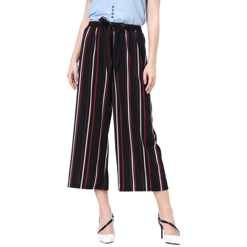 Cosy Wide Leg Women's Pants Female Summer Beach High Waist Trousers Chic Street Solid/Striped Eight Points Casual Pants Women Z