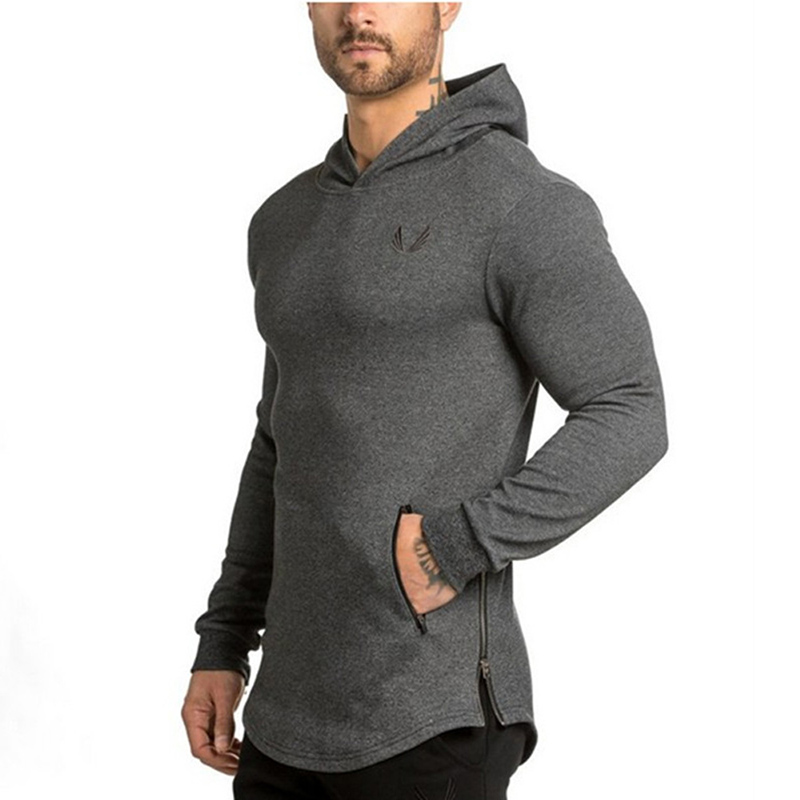 New Sport Shirt Men Cotton Hooded Long Sleeve Gym Fitness T Shirt Men Hoody Dry Fit Men Running Shirts Crossfit T-Shirts Gym Top